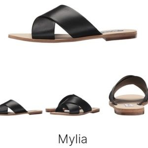 Steve Madden Mylia Black Leather Upper Sandals 10